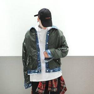 Verde OVERSIZE Exército em estoque INS Jackets Men 2020ss New Fashion Street Jeans Jacket Hip Hop Jackets Men