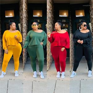 Pantalones casuales Famale más el tamaño de mujeres de la ropa color sólido del chándal de manga larga de cuello redondo Top