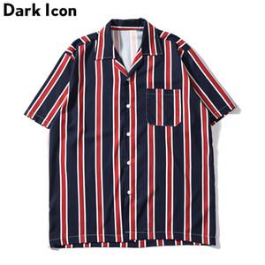 Dark Icon rayé poche avant chemises vintage hommes Retro Street chemises pour hommes 2019 été chemises de plage hommes Y19070501