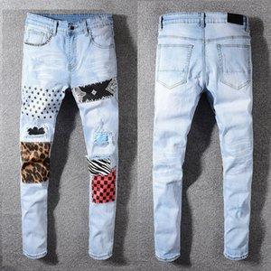 strada nebbia nera 594 # patchwork azzurro degli uomini di jeans strappati di misura sottile dei pantaloni di denim magro tratto mens jeans skinny