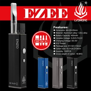 Mod Box Original LVSmoke ENZO para 4 em 1 450mAh Variable Voltage vaporizador Box Mod Vape Pen 3 cores E-Cigarette