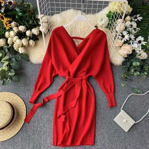 Luzuzi Sonbahar Kış Kadın Örme Triko Elbise 2020 Yeni Kore Uzun Batwing Sleeve V Yaka Şık Elbise Bayanlar Bandaj