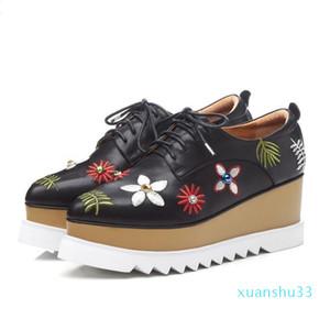 Hot Sale- Fashion Designer Shoe Women Platform Sandals Embroidered Thick Heels Peep Toe Casual Sandals British Style Wedge Heels