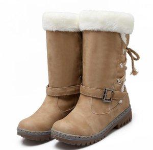 Sapato Feminino Kadınlar Boots orta buzağı Chunky Düşük Topuklar Sonbahar Kış Kar Sıcak Ayakkabı Kadın Gladyatör Patik Chaussure TA1161