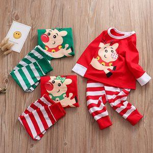 Xmas INS Kids Adult Red Green white Family Matching Christmas Deer Striped Pajamas Sleepwear Nightwear Pyjamas bedgown sleepcoat nighty PJS
