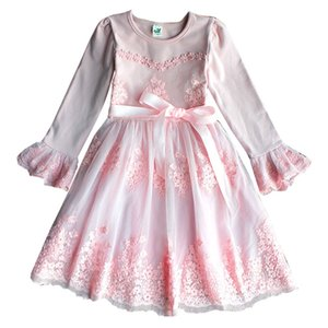 Top Quality Flower Embroidery Flare Sleeve Girl Dresses per Matrimoni Party Kids Lace Dress 3-9T Rosa Blu