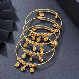 4Pcs lot Bangles Kids Flowers Trendy 2-6 Years Baby Jewelry Adjustable Durable Gold Color Baby Bangles Bracelet Jewelry Gifts