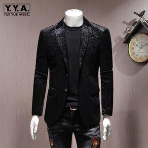 Марка Мужчины Blazer Luxury Wedding Business Casual однобортный пиджак Негабаритные 5XL Осень черный тонкий велюр Outwear