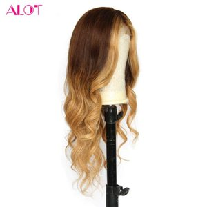 Ombre Lace Frontal Human Hair Wigs #4  27 Mix Color Honey Blonde Lace Wigs Pre Plucked With Baby Hair Malaysian Virgin Hair