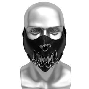 Black PU Leather Punk Hip Hop Face Mask Metal Rivet Mask Men Women Unisex Masks Bar Stage Performance Masks Rock Cosplay