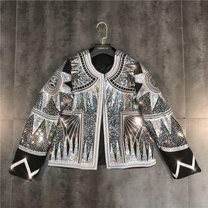 Femmes Veste Brillant 2019 Mode Argent Paillettes Vestes Bomber géométrique O-cou Nationalité Embroid Coat Casual vêtement Femme