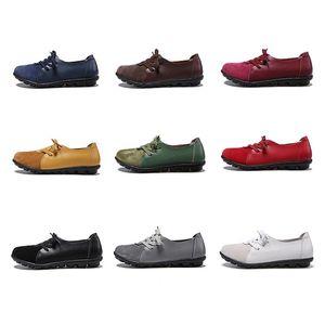 com caixa EOFK Mulheres Flats 2019 Spring Fashion Comfort couro genuíno sapatas lisas deslizamento Woman On Feminino verde esmeralda Sapatos zapatos