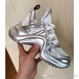 Kadınlar Ayakkabı SS18 Nadir Archlight Sneakers Siyah Beyaz Lace Up Paris Moda Archlight Eğitmenler Gerçek Deri Çirkin baba Sneakers gündelik ayakkabı