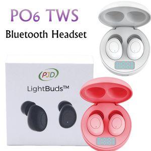 P06 TWS Wireless Bluetooth Earphone Subwfer 5.0 Binaural Stereo Sports Headset with LED Electric Eisplay In-ear Phones