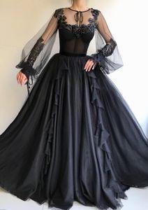 2019 Siyah Gotik Gelinlik Ile Uzun Kollu Balo Olmayan Beyaz Düğün Için Geleneksel Siyah Custom Made Gelinlikler