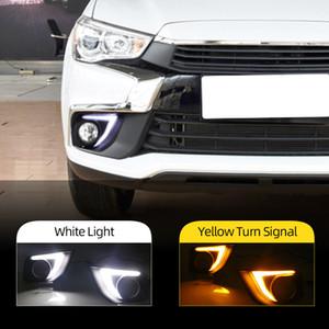 2 adet LED Gündüz Mitsubishi Outlander Sport ASX RVR İçin Lights Running 2016 2017 sarı sinyalli 2018 2019 DRL Sis lambası kapağı