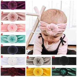Nette Kinder Kleinkind-Turban-Knoten-Stirnband-Baby Soft Velvet Haarband Kopfbedeckung Accessoires Rund geknotete Breite Stirnbänder