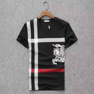 2019 novo designer de t shirt Europa Paris Bordado Contraste patchwork Tshirt Moda Mens Designer de T Camisa Casual Homens Roupas de Algodão Tee