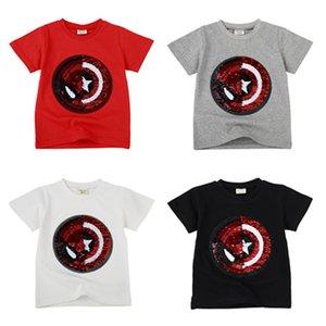 Hot Boys Tops Change Face Color Magic Decoloration Camisetas de algodón Sequin Spiderman Cartoon Paillettes Camiseta para regalos de niño