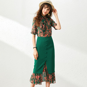 Two Piece Set Women Green 2020 Spring And Summer New Fashion Printed Turndown collar Half sleeve Blouse + Midi Skirt S-XL