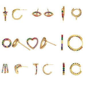 LURUIXU arco-íris CZ brincos por Mulheres colorido Zirconia Cheio pequena estrela do olho do coração Heometric Brincos de jóias charme presente