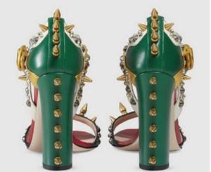 حار بيع -شمال تصميم الأزياء مسنبل سميكة عالية الكعب تو اللمحة المرأة صنادل أحذية المسامير أحذية نسائية صنادل الصيف المرأة ذات جودة عالية # 9010