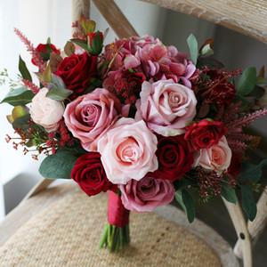 Retro Rosa Rosa Forset Bouquets Noiva 2020 Decoração de Casa Decoração Artificial Noiva Segurando Broche Bouquet Noiva Fotografia Flores
