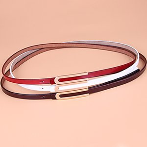 Thin belt female decoration with dress fashion simple Korean version of the wild thin belt female patent leather cowhide waist c