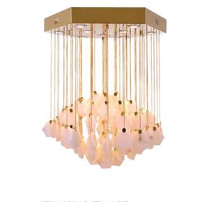 현대 광택 대리석 주도 샹들리에 조명 구리 금속 거실 주도 펜던트 샹들리에 조명 식당 서스펜션 램프 LLFA