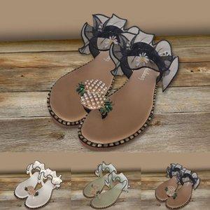 Womens Flip Flop Pineapple clip Toe Slides Summer Lace Flat Sandales 2020 Perle Versé Flip flops Toe Chaussures de plage Slides Slipper