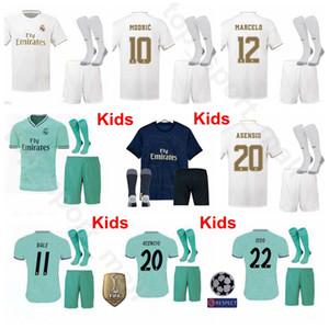 Kinder 2019 2020 Real Madrid Jugend MODRIC Jersey Socken Fußball Set BENZEMA HAZARD KROOS SERGIO MARCELO Fußball Trikot Kits Uniform Kids