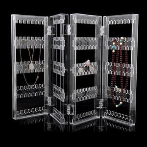 Behogar 4-Panel plegable acrílico transparente de la joyería soporte de exhibición organizador del sostenedor del estante para los pendientes Studs collar pulseras