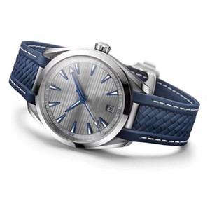 Haute Qualité Hommes Hommes Montres Aqua T erra co-axial de mouvement automatique 41.5mm Dial Reloj ACIER Rubber Band Montres-bracelets