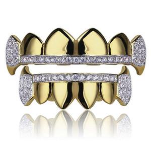 Gold Grillz Schmuck Hip Hop Dental Grills 2019 Mode Exquisite Glaring Zirkon 18 Karat vergoldete Zähne Zahnspangen 2-teiliges Set Großhandel