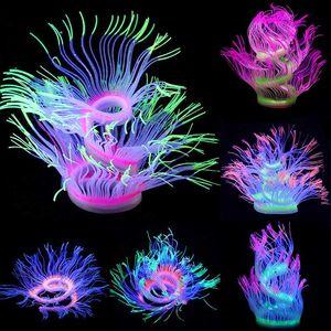 Aquarium silicone artificielle Corail Décoration changeable douce Poisson Mer réservoir Anemone Paysage Décor Ornement rougeoyant lumière
