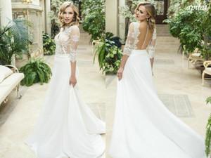 Elegant 3 4 Long Sleeves A-line Bohemian Wedding Dress Cheao White Lace Appliqued Plus Size Country Beach Boho Bridal Gown
