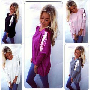 Venda quente Moda feminina Sequins Primavera Outono roupas casuais solta mangas compridas Blusa Tops Camisa Casual