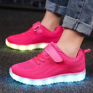 Kinder Schuhe Licht geführte leuchtende Sneakers Jungen Mädchen 7 Farben-Sport-Freizeitschuhe für Kinder glühender Turnschuhe USB aufladbar