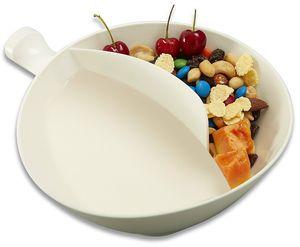 2-in-1 Isolierung Schüssel Soggy Med Weiß Anti-Soggy Snacks Getreide Schüssel mit Ergonomie Handhabung und die Griffigkeit