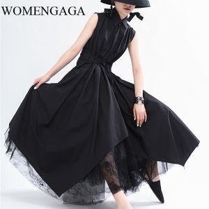 WOMENGAGA 2020 Verão Novo Vestido Irregular Sem Mangas Patchwork Casual Solto Elegante confortável e de Peito único W0009
