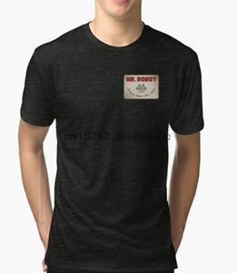 Manga de las mujeres Impreso camiseta de los hombres del algodón del cuello de O camisetas Mr Robot Patch corta camiseta