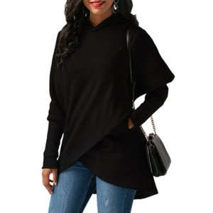 Autumn Irregular Hooded Sweatshirt Long Sleeve Fleece Women Hoodies Warm Jumper Pullover Solid Color Outwear Loose Coats S-3XL