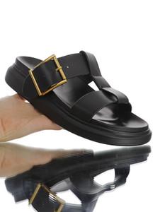 Las mujeres de cuero de marca de diapositivas híbrido Zapatillas señora del diseñador hebilla de metal de gran tamaño suela de goma punta redonda Zapatilla de Verano Sandalias planas