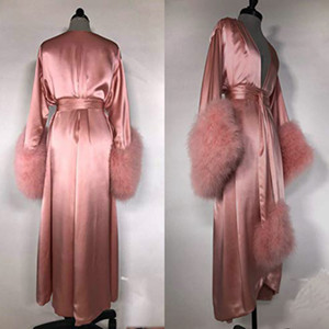 Robe Fur Nightgowns Banho Pijamas Feather Robe nupcial do Sexy Mulheres com Belt Mulheres Pijamas Nightshirt Nightdress Lingerie Peignoir
