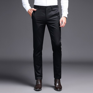 2019 homens vestem calças cáqui calças terno Marca de moda calças de negócios preto Trabalho em linha reta para o sexo masculino cor sólida calça skinny