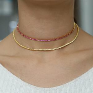 Moda collar noble collar rojo rubí cz cadena de tenis collar joyería micro pave color oro mujeres de lujo colme femme 40 cm