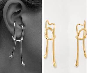 2020 Новое прибытие Преувеличены серьги Личность дизайн золото серег ретро Длинные серьги клип для женщин Нет уха Hole