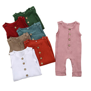 kids designer clothes girls boys Solid colors romper newborn infant sleeveless Jumpsuits 2020 summer baby Climbing clothes 7 colors Z1015