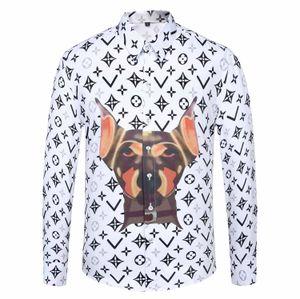 2020 Men's shirt Slim fit fashion Animal print men's dress shirt Social mannish long sleeve shirt men's clothes M-XXXL