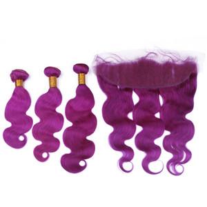 Body Wave Pure Purple peruviano dei capelli umani Bundles 3Pcs con frontale colore viola 13x4 piena del merletto frontale Chiusura con Virgin del tessuto dei capelli trame